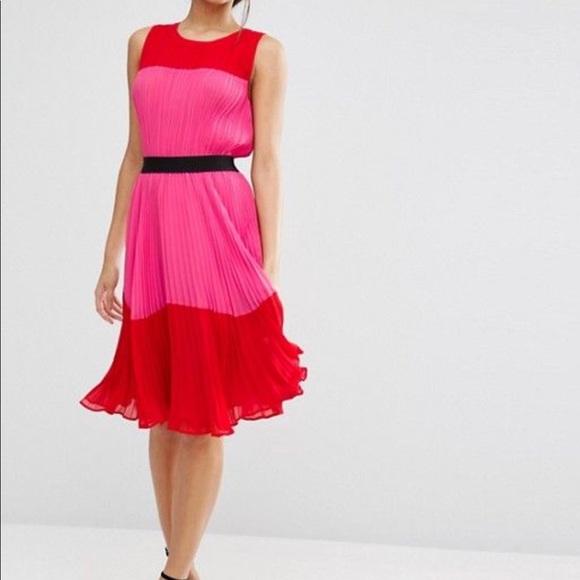 b194c065a2fd ASOS Dresses | Pleated Red Pink Color Block Dress Nwt Sz 6 | Poshmark
